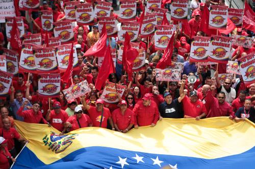Aspecto del acto realizado en Caracas en respaldo a la gestión del presidente Chávez. Foto Prensa Miraflores.