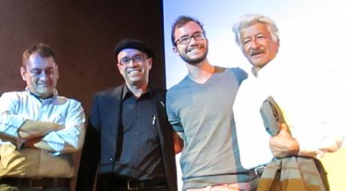De izquierda a derecha los caricaturistas Mheo, Betto, Xtian y Calarcá. Foto. Aradia.