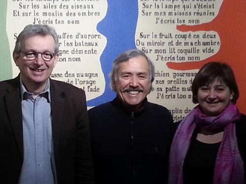 En la foto, Pierre Laurent, Secretario Nacional del PCF, Jaime Caycedo y Lydia Samarbakhsh, nueva responsable del área internacional del PCF.