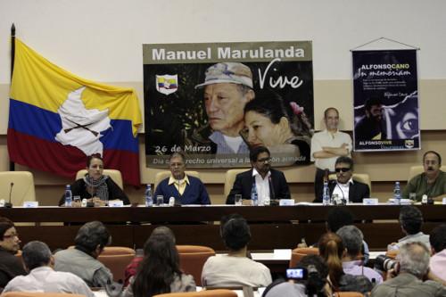 Rueda de prensa de la delegación de paz de las FARC-EP.