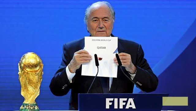 El presidente de la FIFA durante el anuncio de Qatar como sede del Mundial. cortesía msn.mediotiempo.com | EFE