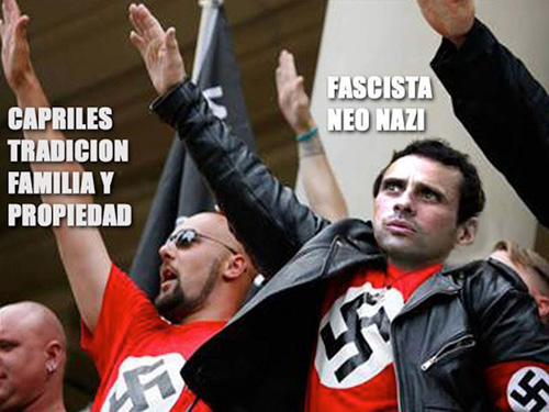 Fotomontaje que circula en redes sociales para rememorar la época en que Henrique Capriles militó en una organización juvenil fascista.
