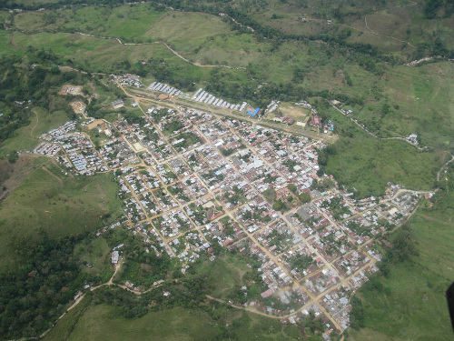 Vista aérea del casco urbano de Planadas