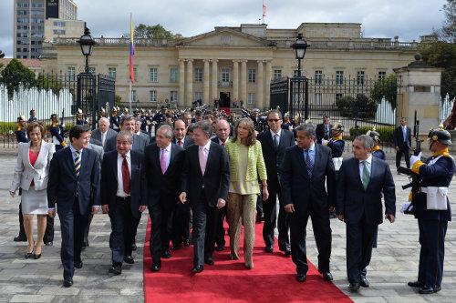 La bancada de unidad nacional junto al gobierno han advertido que la agenda legislativa camina en torno a las locomotoras y la reelección de Santos. Foto Presidencia.