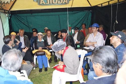 Un aspecto de la exposición de Felipe Santos sobre el tema de la Unión Patriótica en el Festival de VOZ. Foto C.L.