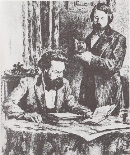 Carlos Marx y F. Engels analizan un texto.
