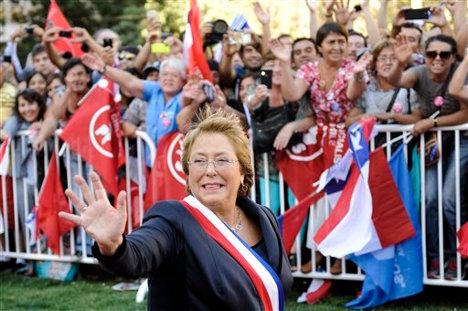 Michelle Bachelet, al momento de asumir la presidencia de Chile para un segundo mandato.