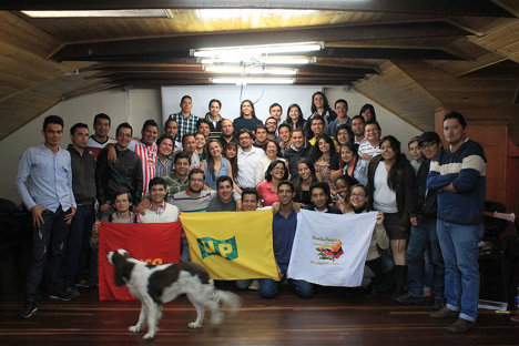Aída Avella con el Comité Central de la Juventud Comunista Colombiana, JUCO.