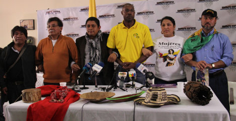 Voceros de organizaciones campesinas que acuden a la Cumbre Agraria esperan respuesta del gobierno nacional. Foto Jorge Acuña.