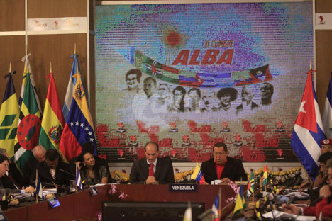 Reunión del ALBA, presidida por el gobernante venezolano Hugo Chávez. Foto archivo.