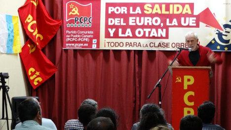 Mitin del Partido Comunista del Pueblo Canario, previo a las elecciones del Parlamento Europeo.
