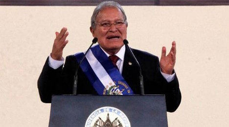 Salvador Sánchez Cerén, al momento de su posesión.