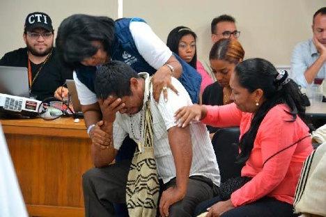 Aspecto de la audiencia de reparación de víctimas de la masacre en el sur de La Guajira. Foto cortesía.