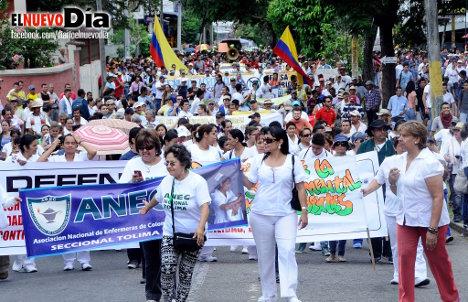 Marcha de trabajadores en Ibagué. Foto: El Nuevo Día