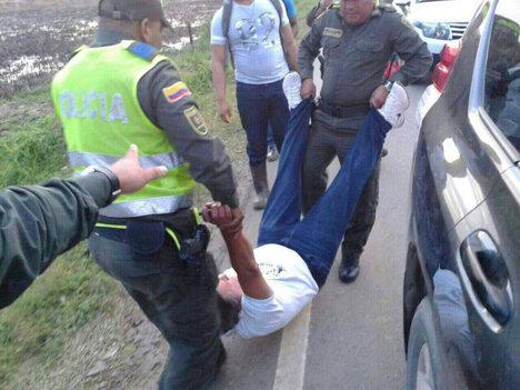Momento en el que los dirigentes sindicales son capturados por la Policía.