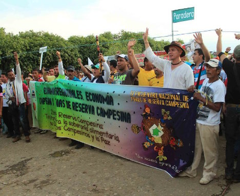 Movilización campesina en la que participa César Jerez. Foto Bibiana Ramírez.