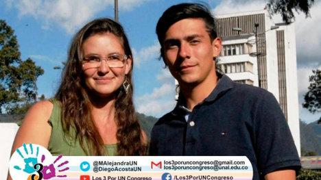 María Alejandra Rojas y Diego Acosta, candidatos de la plancha #3 a la representación estudiantil ante el Consejo Superior de la Universidad Nacional.