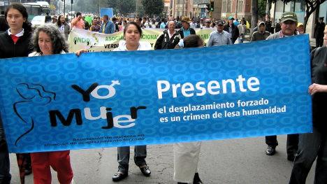 Marcha de desplazados en Bogotá. Foto archivo.