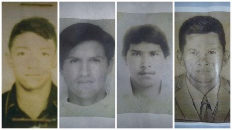 José Jaime Loaiza, Yesid Tumbo, Martín Humberto Coy y Jesús María Galindo, asesinados hace 30 años por militares.