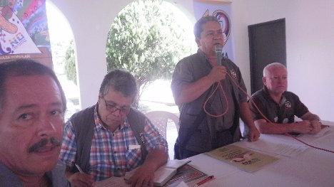 Interviene Pedro Antonio Barón Gutiérrez, presidente CUT Tolima. Foto Nelosi.