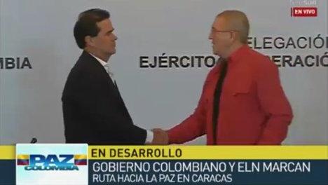 Voceros del Gobierno Nacional y del ELN en Caracas en el evento.