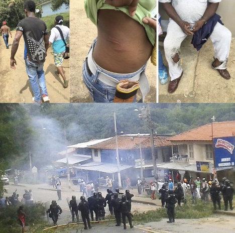 La Policía castigó brutalmente la protesta cívica. Foto Cumbre Agraria.