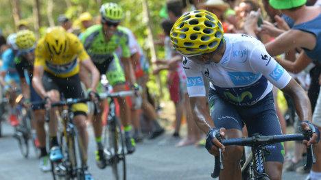 Nairo Quintana disputando el Tour 2014.