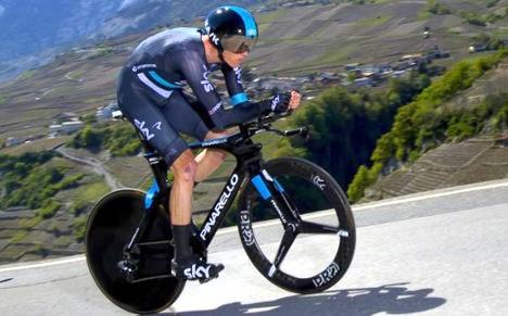 Christopher Froome, principal rival de Nairo Quintana en el presente Tour de Francia, en etapa contrarreloj.