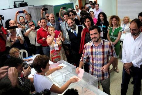 Aspecto de la participación de los ciudadanos y sus líderes, en las elecciones de junio pasado en España.