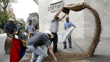 Protesta de campesinos cafeteros del Quindío. Foto Archivo.