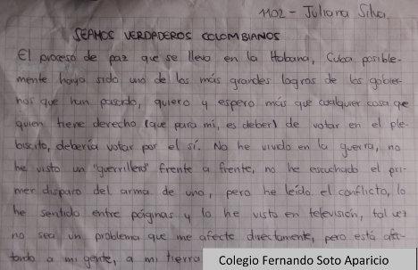 Carta de una estudiante de secundaria frente a sus anhelos de paz.
