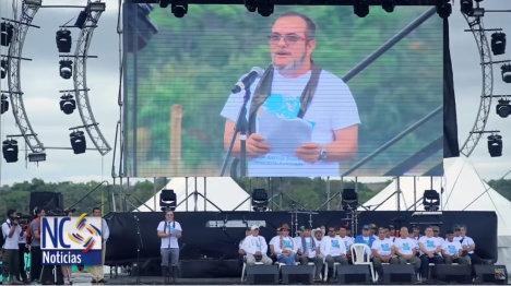 El comandante Timoleón Jiménez en la instalación de la Conferencia de las FARC.