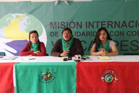 Rueda de prensa, en la mesa vocerías de Colombia, Ecuador, Bolivia. Foto Carolina Tejada.