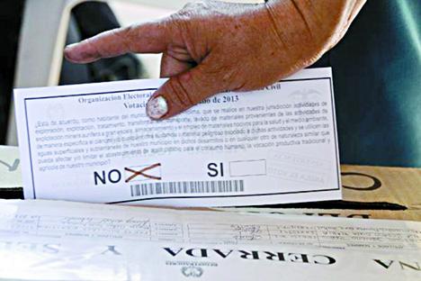 Papeleta de consulta en Piedras, Tolima.