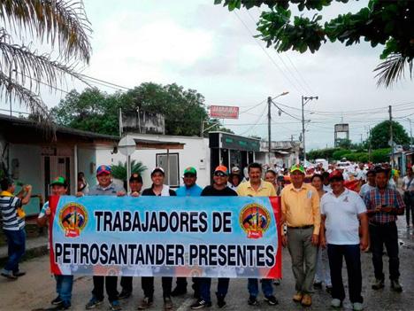Marcha de trabajadores de Petrosantander.