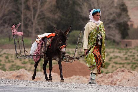 Las mujeres bereberes recorren kilómetros cada día para llevar el agua a sus aldeas. Ellas sufren mucho más que los hombres los efectos del cambio climático. Imagen: David Rosen