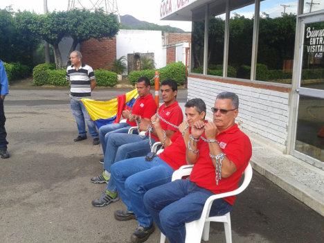 Trabajadores de Coca-Cola en huelga de hambre. Foto archivo Sinaltrainal.